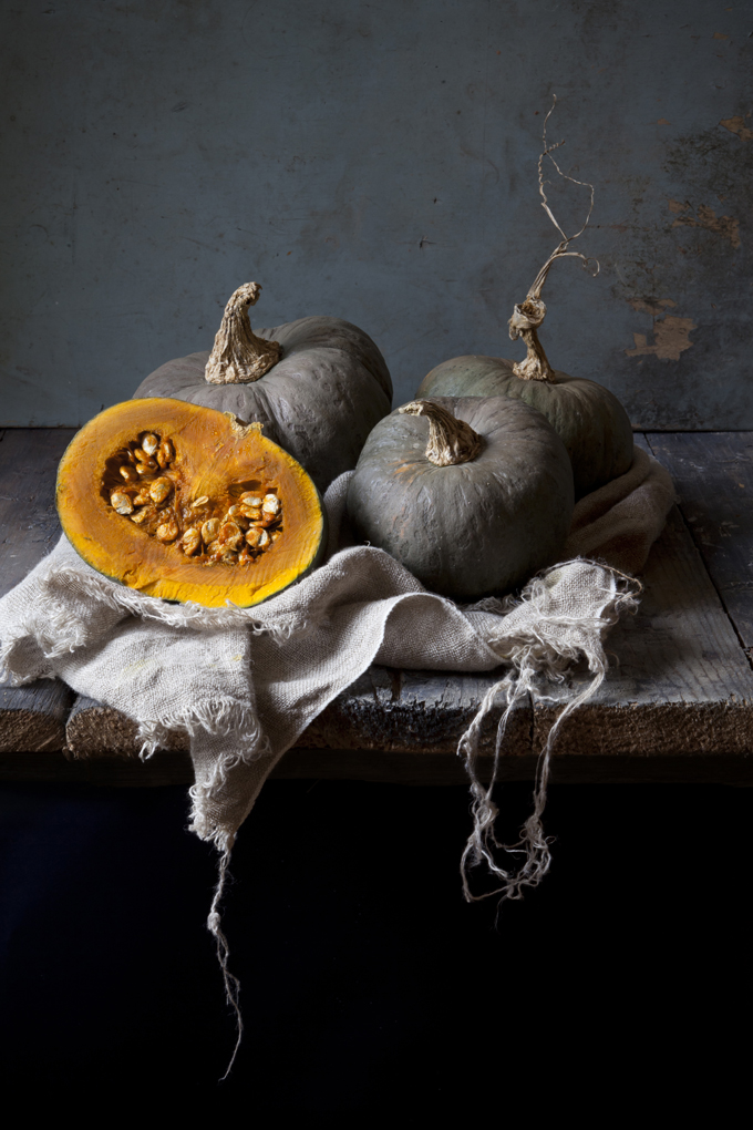 studio shot of different kinds of pumpkins on rustic background
